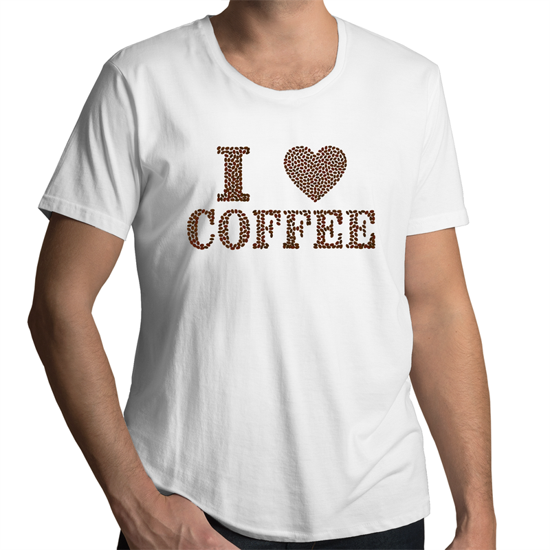 Scoop Neck T-Shirt – I Love Coffee - Mens