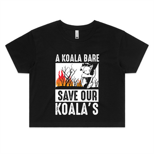Crop Tee - A Koala Bare - White Text - Women's