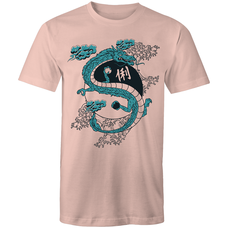Colour Staple T-Shirt – Yin Yang dragon - Mens