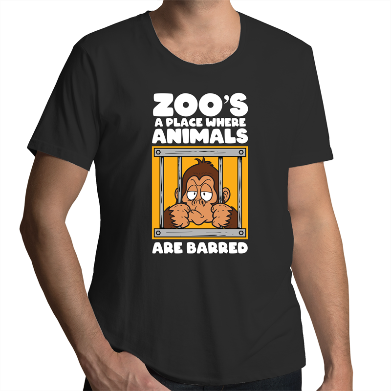 Scoop Neck T-Shirt - Zoo's a place where animals are barred - White Text - Mens