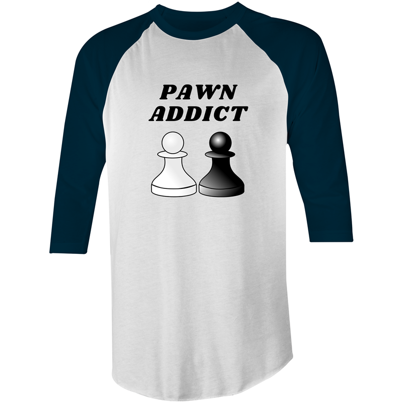 3/4 Sleeve - Pawn Addict - Black Text – Mens