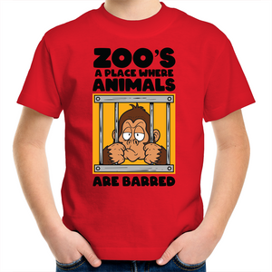 Sportage Surf - Zoo's a place where animals are barred - black text - Kids Youth T-Shirt