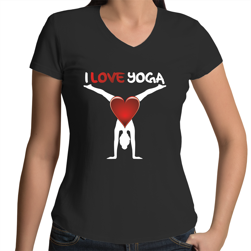Bevel V-Neck T-Shirt - I Love Yoga - White Text - Women's