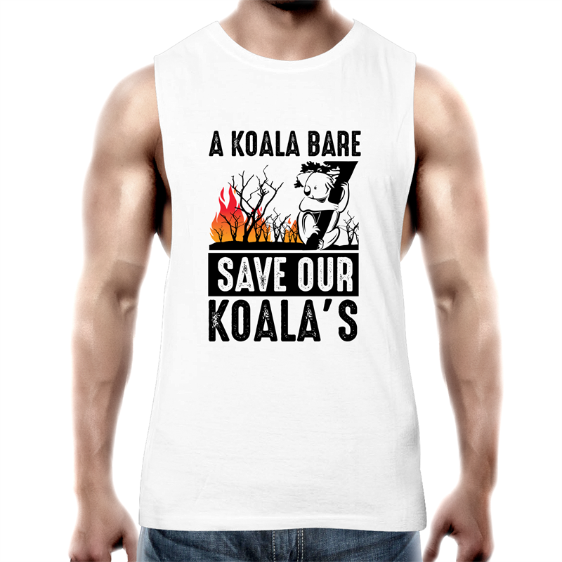 Tank Top Tee - A Koala Bare - Black text - Mens