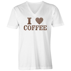 V-Neck Tee T-Shirt - I Love Coffee - Mens