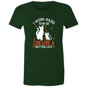 Maple Tee – I work so hard so my cat can live a better life – White Text - Women's