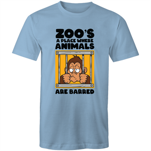 Colour Staple T-Shirt – Zoo's a place where animals are barred - Black text - Mens