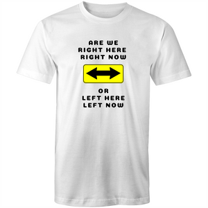 Colour Staple T-Shirt – Are we right here right now - black text - Mens