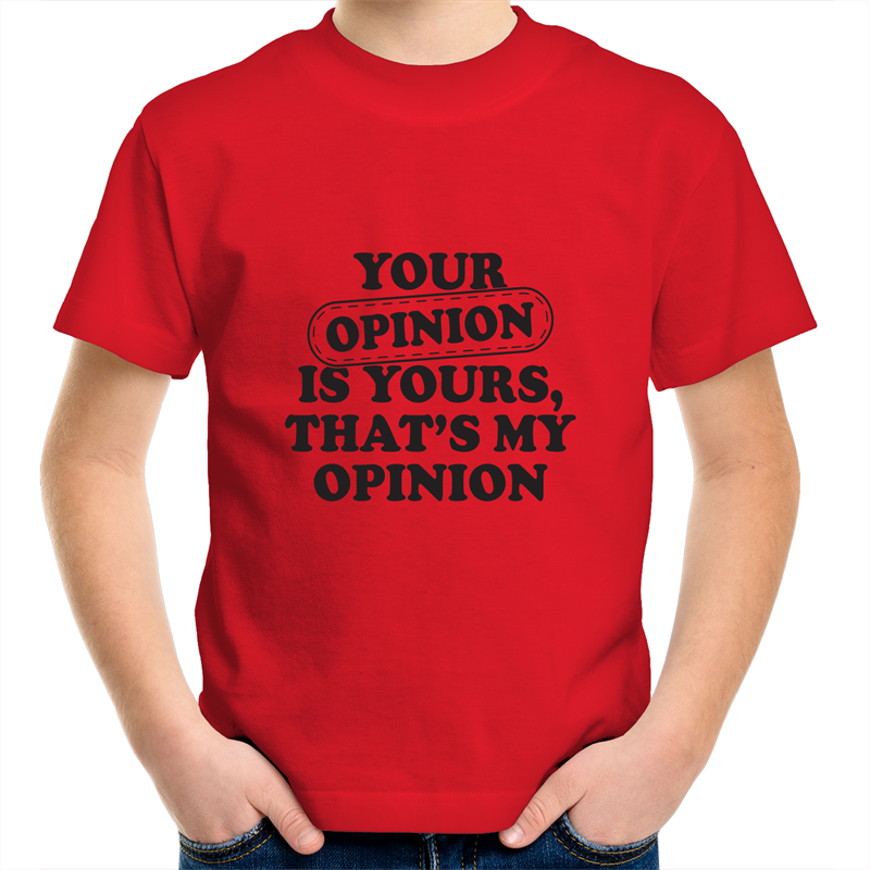 Sportage Surf - Your opinion is yours - Black Text - Kids Youth T-Shirt