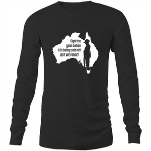 Long Sleeve T-Shirt - Lest we forget - Black Text - Mens