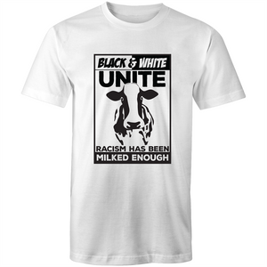 Colour Staple T-Shirt – Racism has been milked enough - black text - Mens