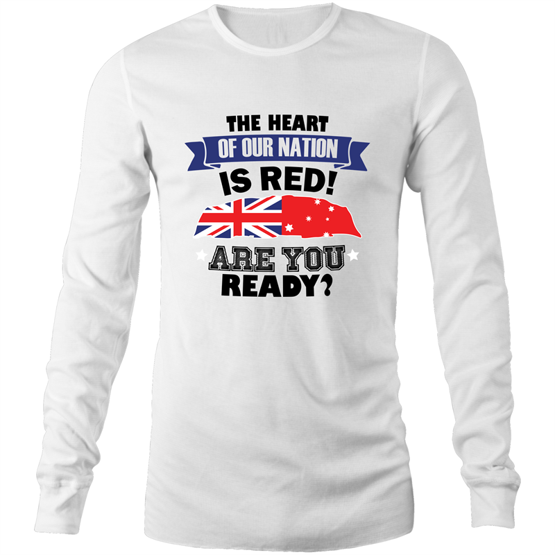 Long Sleeve T-Shirt - The heart of our nation - Black Text - Mens