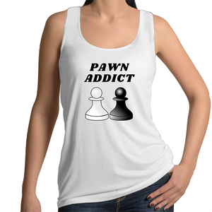 Singlet - Pawn Addict - Black text - Women's