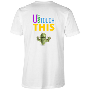V-Neck Tee T-Shirt - U can't touch this - cactus - Mens