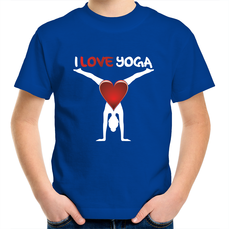 Sportage Surf - I Love Yoga - White Text - Kids Youth T-Shirt