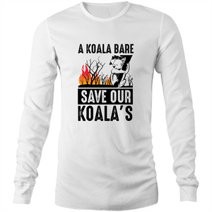 Long Sleeve T-Shirt - A Koala Bare - Black Text - Mens
