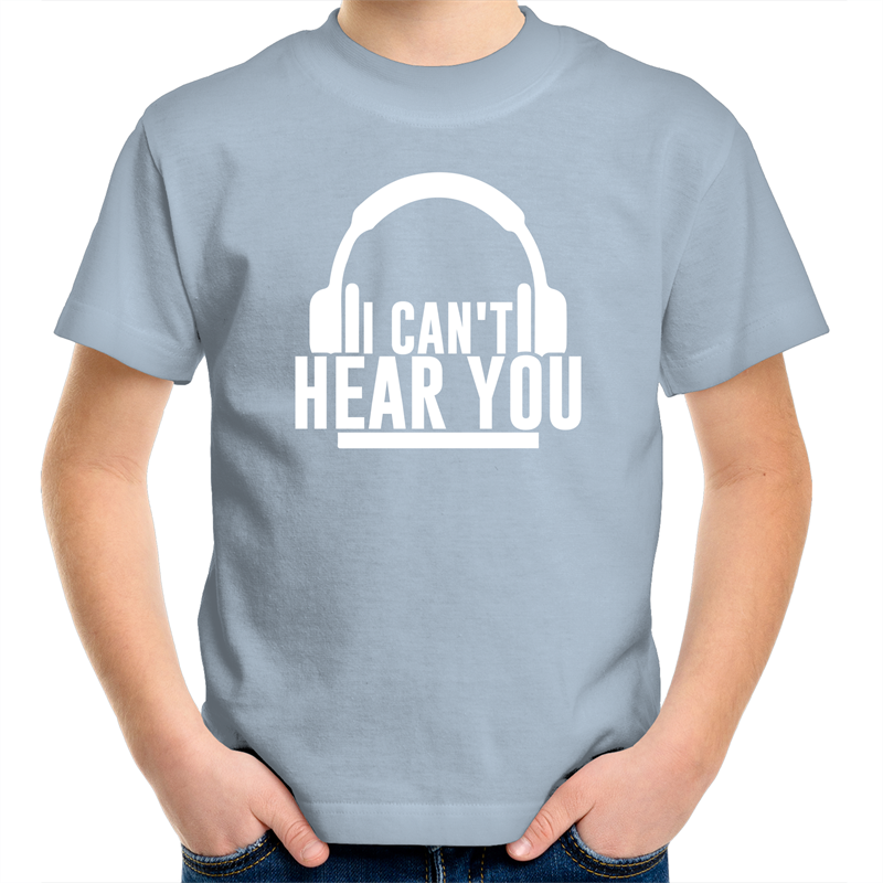 Sportage Surf - I cant hear you - White Text - Kids Youth T-Shirt