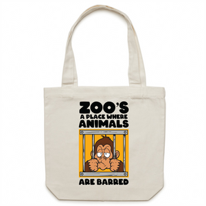 Canvas Tote Bag - Zoos a place where animals are barred - Carrie