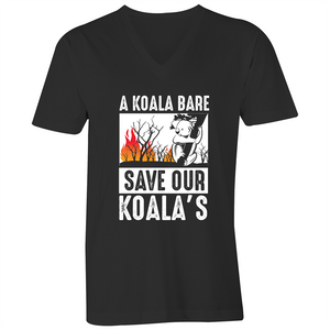 V-Neck Tee - T-Shirt - A Koala Bare - White Text - Mens