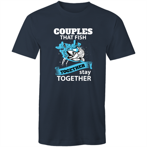 Colour Staple T-Shirt – Couples that fish together stay together - white text - Mens