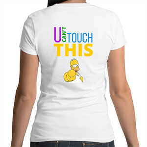 Bevel V-Neck T-Shirt - U can't touch this - Homer – Women's