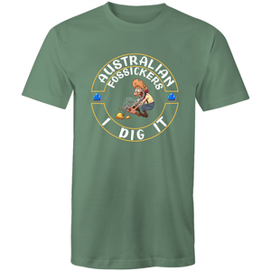 Colour Staple T-Shirt – Australian Fossickers I dig it - White text - Mens