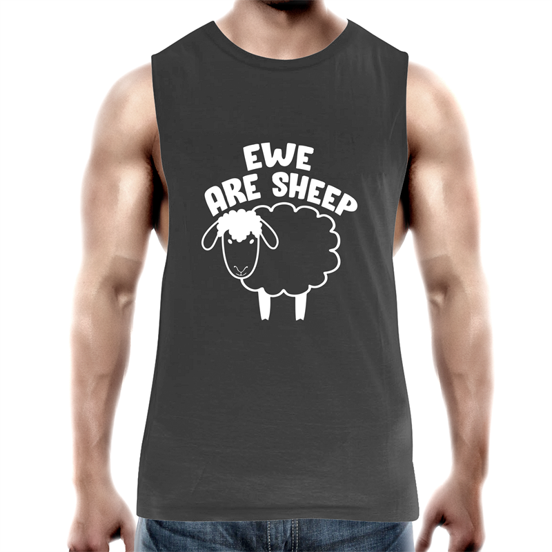 Tank Top Tee - Ewe are sheep - White text - Mens
