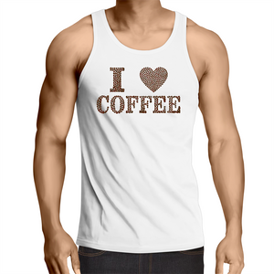 Singlet Top - I Love Coffee - Mens – WHITE SHIRT ONLY