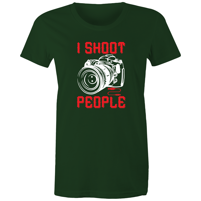 Maple Tee – I shoot people - White Text - Women's