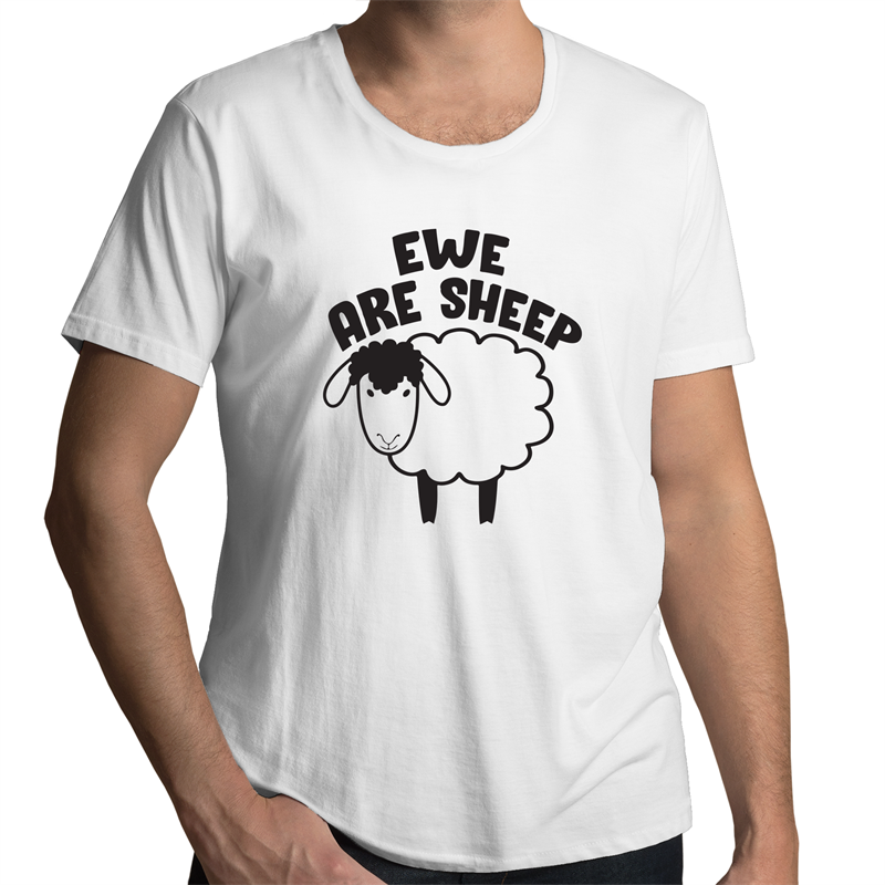 Scoop Neck T-Shirt - Ewe Are Sheep - Black Text - Mens