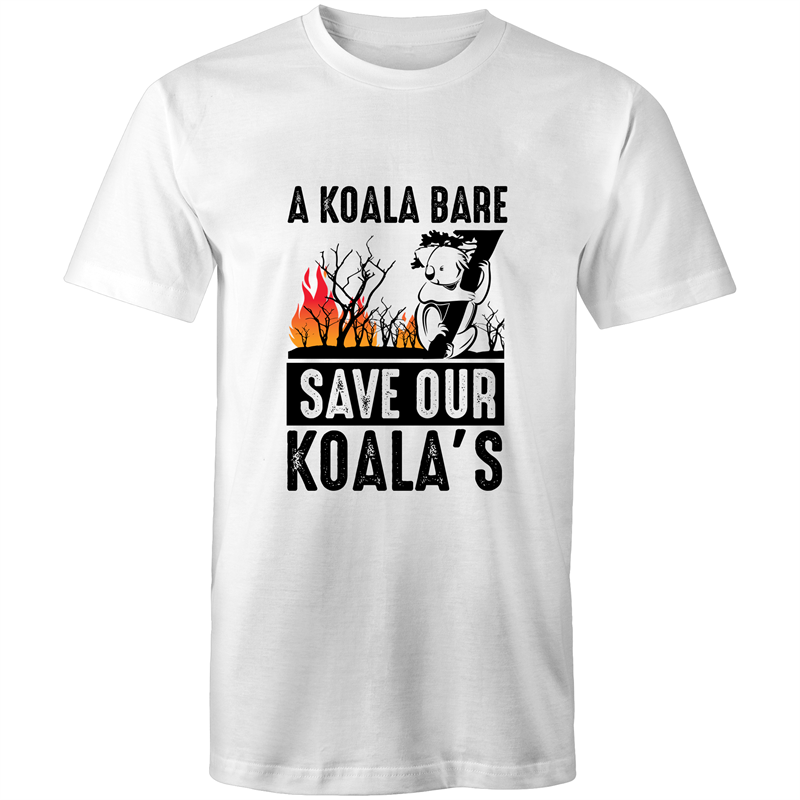 Colour Staple T-Shirt – A Koala Bare - black text - Mens