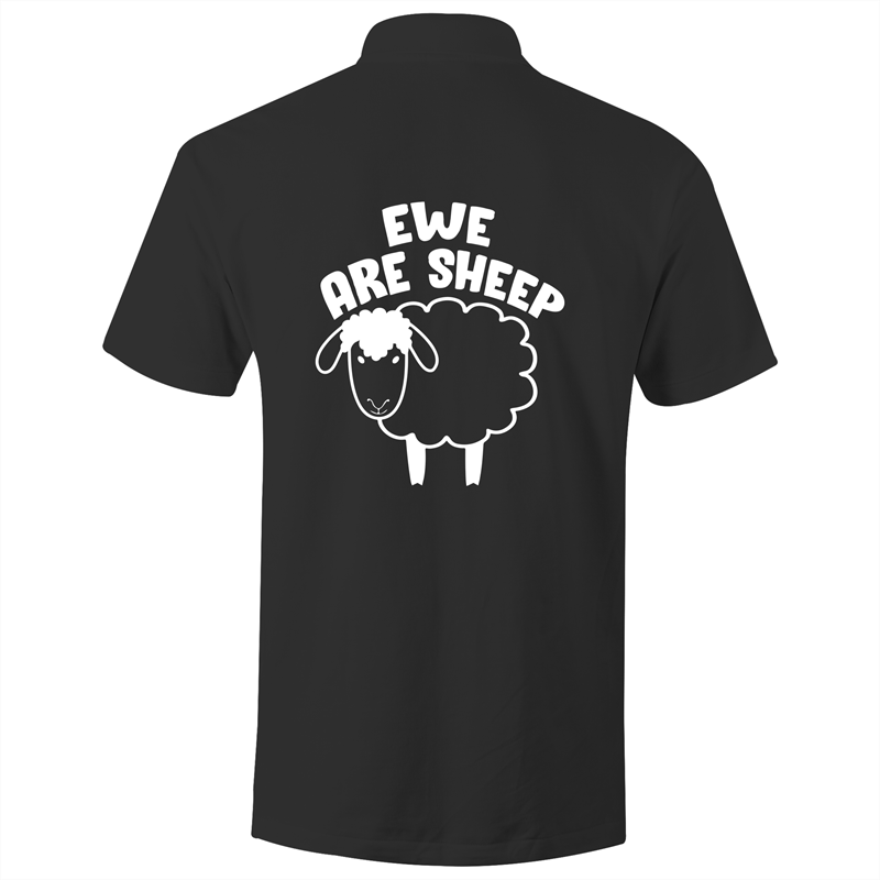 Polo Shirt - Ewe are sheep - White text - AS Colour Chad
