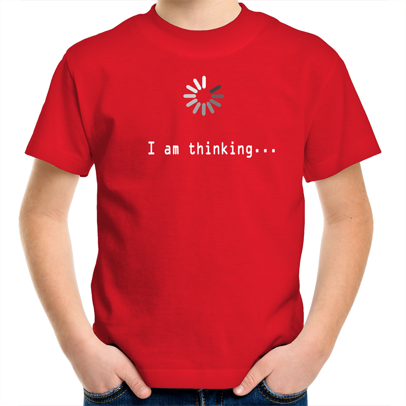 Sportage Surf - I am thinking - White Text - Kids Youth T-Shirt