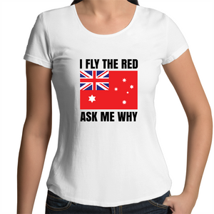 Scoop Neck T-Shirt - I fly the red - Black text - Women's