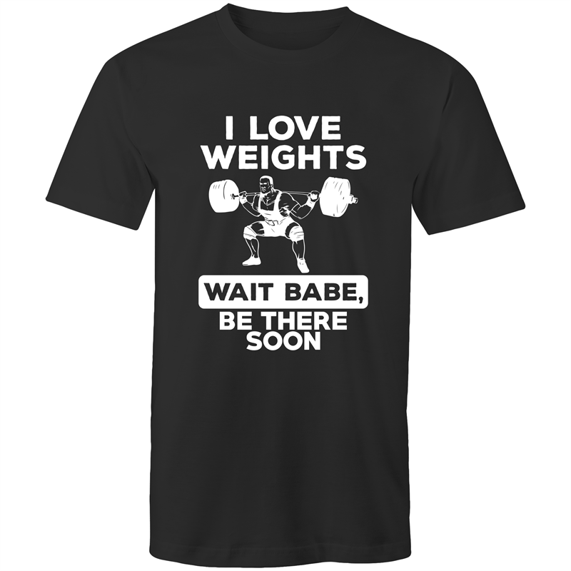 Colour Staple T-Shirt – I Love Weights - White text - Mens
