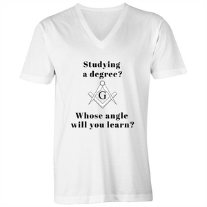 V-Neck Tee - T-Shirt - Studying a Degree - WHITE SHIRT ONLY - Mens