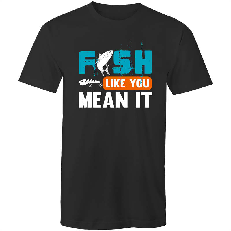 Colour Staple T-Shirt – Fish like you mean it - white text - Mens