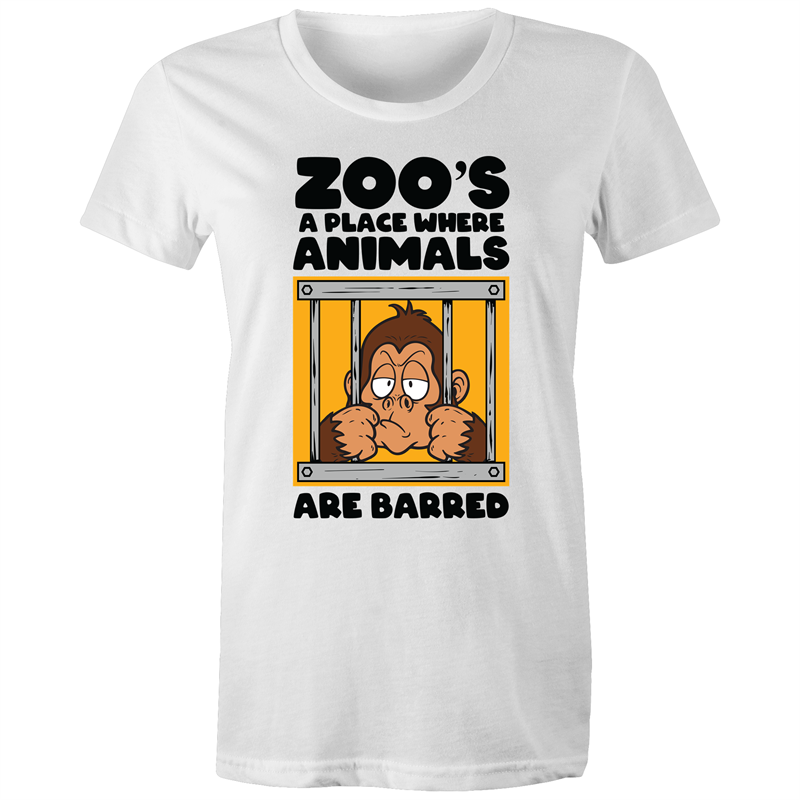 Maple Tee - Zoo's a place where animals are barred - black text - Women's