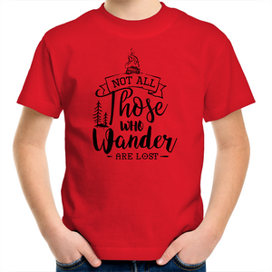Sportage Surf - Not all those who wander are lost - Black Text - Kids Youth T-Shirt