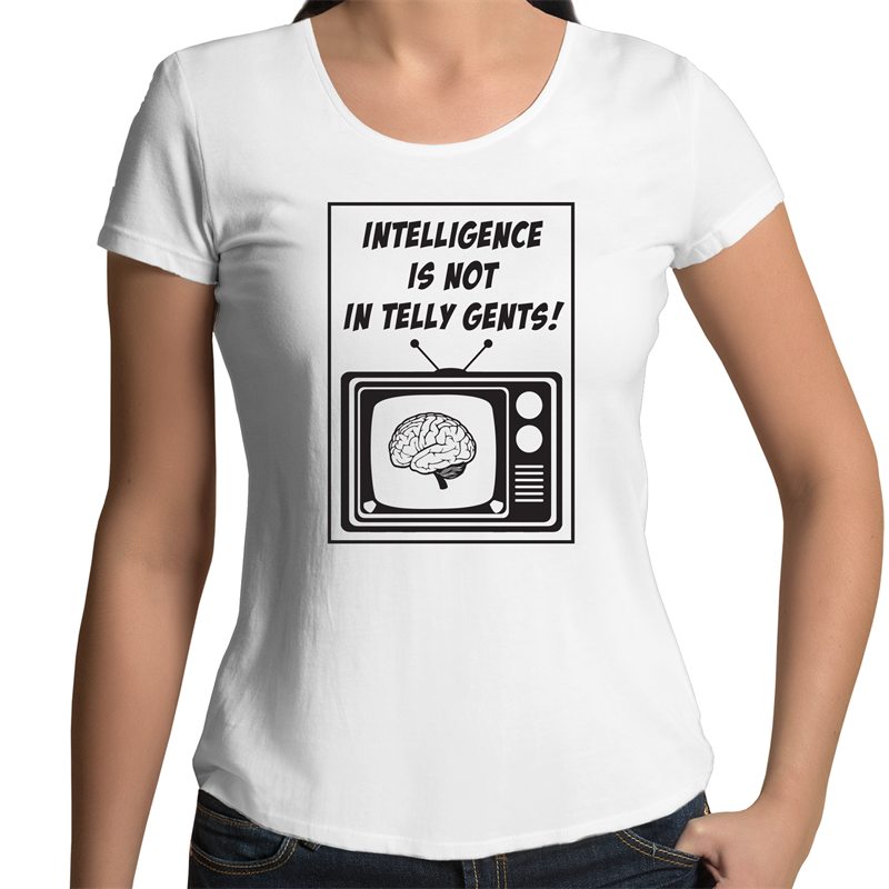 Scoop Neck T-Shirt - Intelligence - Black Text – Women's