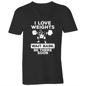 V-Neck Tee - T-Shirt - I Love Weights - White Text - Mens