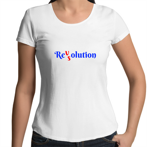 Scoop Neck T-Shirt - Revolution VS Resolution - Women's