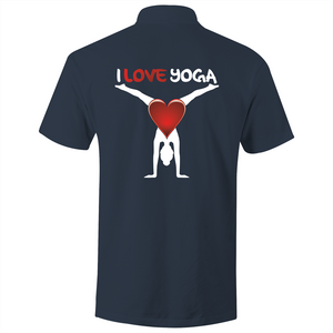 Polo Shirt - I Love Yoga - White text - AS Colour Chad