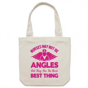 Canvas Tote Bag - Nurses may not be angels – Carrie