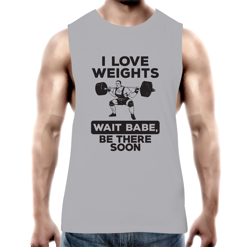Tank Top Tee - I Love Weights - Black text - Mens