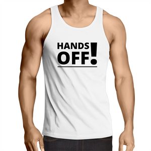 Singlet Top - hands off - Mens – WHITE SHIRT ONLY
