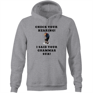 Pocket Hoodie Sweatshirt - Intelligence – White Text – Unisex