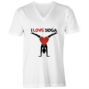 V-Neck Tee - T-Shirt - I Love Yoga - Black Text - Mens