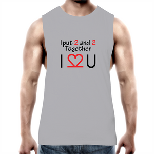 Tank Top Tee – I Love You - black text – Mens
