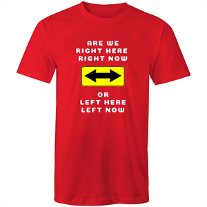 Colour Staple T-Shirt – Are we right here right now - white text - Mens